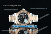 Rolex Yacht-Master Clone Rolex 3135 Automatic Rose Gold Case Black Dial Dots Markers and Two Tone Bracelet -1:1 Original