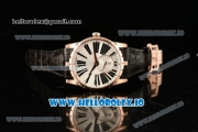Roger Dubuis Excalibur 36 Miyota 9015 Automatic Rose Gold Case White Dial With Roman Numeral Markers Black Leather Strap - 1:1 Original