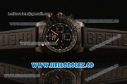 Breitling Chronomat B01 44 Blacksteel Chronograph Swiss Valjoux 7750 Automatic PVD Case with Black Dial Rubber Strap and Stick Markers