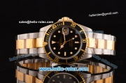 Rolex Submarine Swiss ETA 2836 Automatic Two Tone Case/Strap with White Markers Black Dial and Black Bezel