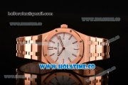 Audemars Piguet Royal Oak 33MM Miyota Quartz Rose Gold Case/Bracelet with White Dial and Stick Markers (EF)