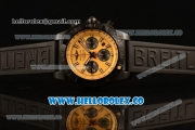 Breitling Chronomat B01 44 Blacksteel Chronograph Swiss Valjoux 7750 Automatic PVD Case with Yellow Dial Rubber Strap and Stick Markers