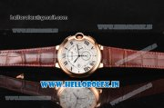 Cartier Ballon Bleu de Cartier Chronograph Quartz Rose Gold Case with White Dial and Brown Leather Strap