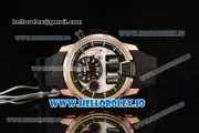 HYT H1 Clone HTY Cal.101 Manual Winding Rose Gold Case with White Dial Arabic Numeral Markers and Rubber Strap