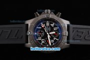 Breitling Avenger Chronograph Swiss Valjoux 7750 Automatic Movement PVD Case with Black Dial and White Number Markers-Black Rubber Strap