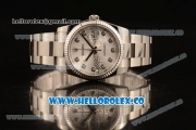 Rolex Datejust Clone Rolex 3135 Automatic Stainless Steel Case/Bracelet with Silver Dial and Diamonds Markers - 1:1 Original (MARK F)