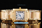 Cartier tank francaise with Full Gold and White Dial
